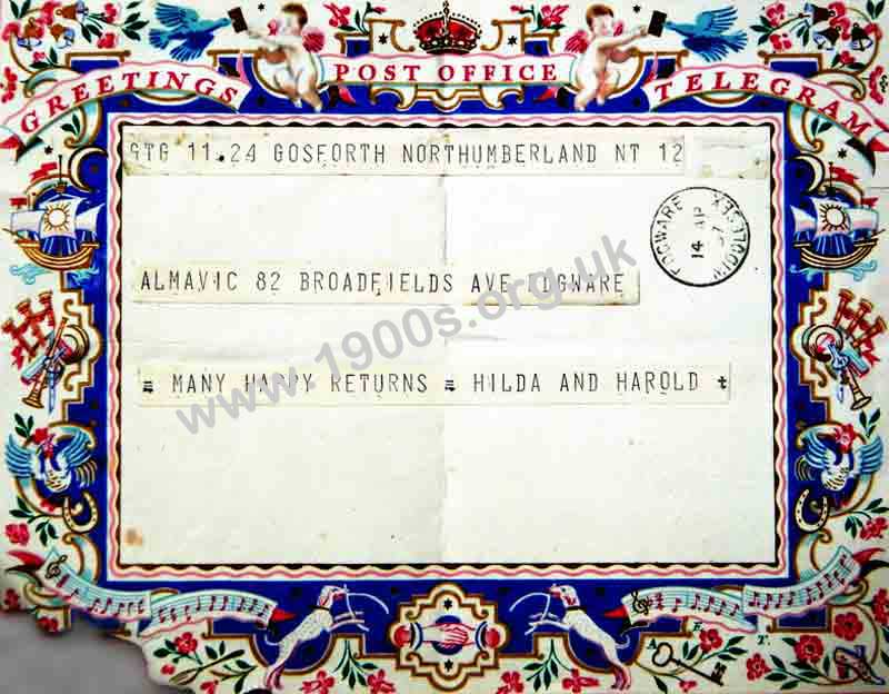 British greetings telegram 1937 1937 uk greetings telegram showing the message received on teletype strip and stuck onto the greetings m4hsunfo