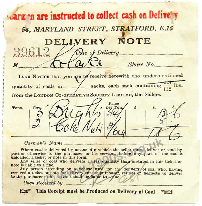 1938 London receipt / delivery note for coal, showing the favoured types as 'Brights� and coke nuts