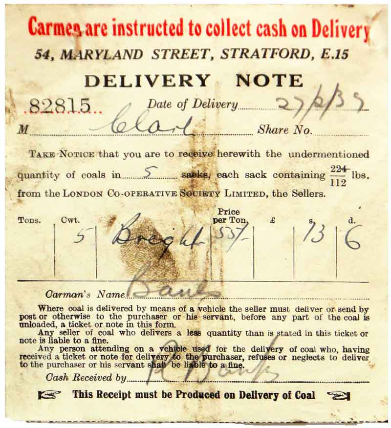 1939 receipt / delivery note from the London Co-op for �Derby Bights� coal at a cost of 55 shillings/ton (�2-75p in decimal currency).