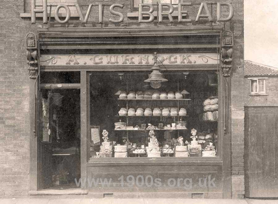 Bakery shop front about 1910 UK