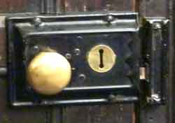 Typical door handle and lock from a 1930s kitchen to the back garden