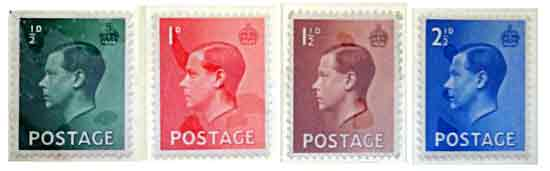 The four types of Edward VIII postage stamps, the only ones ever produced: 0.5d, 1d, 1.5d and 2.5d