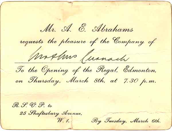 Invitation to the opening of the Regal Cinema in Edmonton showing the date of opening.