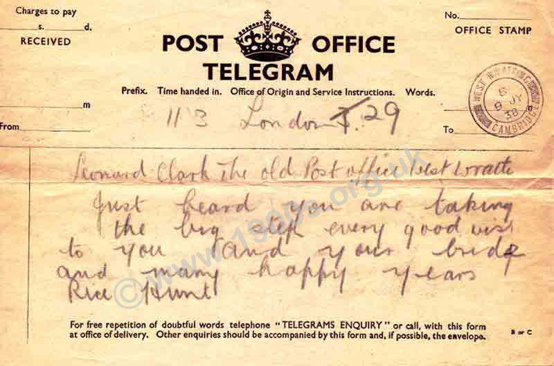 1938 standard style telegram on cheap paper issued by the British GPO (General Post Office)