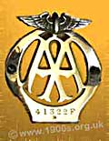 An AA badge for attaching to the front of a car to  show membership of the Automobile Association