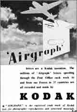 thumbnail: 1943 magazine advert for Kodak which was responsible for photographically reducing the mail from forces overseas.