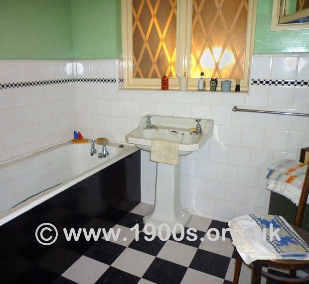 The Bathroom In A S English Suburban House - 1940s bathroom floor tile
