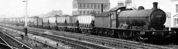 Coal train, common in England in the first half of the 20th century and before, and typically extremely long