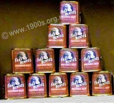 Tins of Fray Bentos corned beef, an English staple in the shortages after WW2
