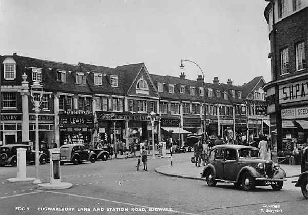 Looking south along Station Road, Edgware, towards Edgware station, c1950