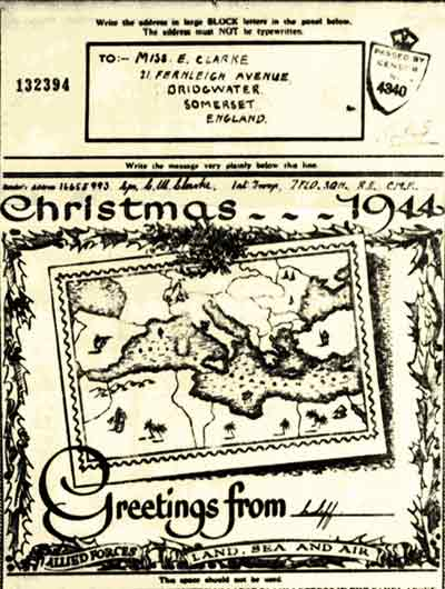 World War Two British Forces Christmas card sent Africa in 1944.