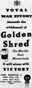 Advert for Golden Shred Marmalade in a 1943 magazine.