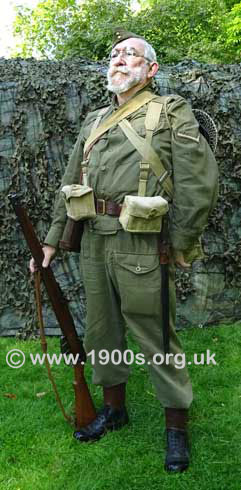 Home Guard uniform and kit, front