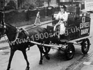 Horse-drawn milk deliveries in World War Two