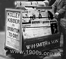 Newstand for selling newspapers and magazines on the streets in the 1940s and 1950s