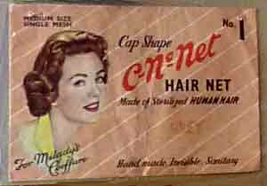 Hair net designed for daytime use, still in its original packet, 1940s and 1950s