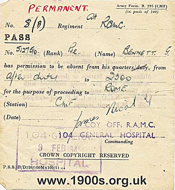 1940s army pass for being absent from quarters for the purpose of travelling to Rome.