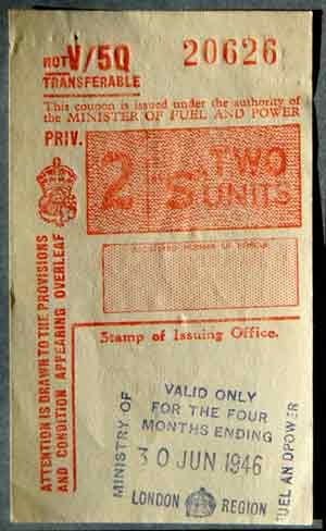 1946 UK petrol coupon for 2 fuel units