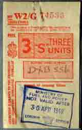 1948 UK petrol coupon for 3 fuel units, thumbnail