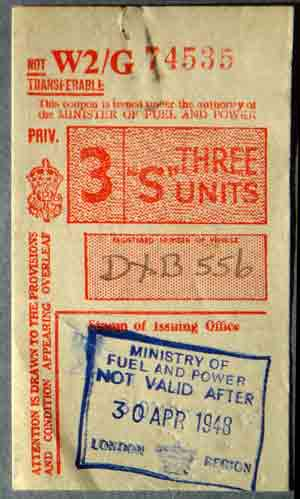 1948 UK petrol coupon for 3 fuel units