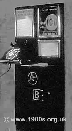 A UK paying mechanism on a public wall phone, as found in pubs and guest houses in the 1940s and 1950s: Button A and Button B