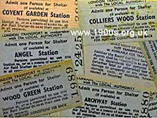 Tickets for using the London Underground to shelter from bombs in the blitz of WW2