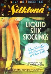 Poster for Silktona, liquid used to paint women's legs to make them appear to be wearing silk stockings.