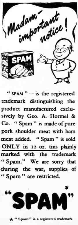 1944 advert for Spam processed pork.