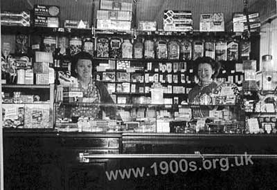 Inside a typical 1940s and 1950s UK sweet shop, where most sweets were weighed out for each customer from large glass jars