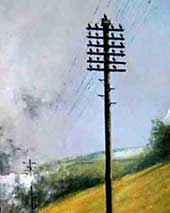 Telegraph poles and outdoor telephone lines in mid 20th century Britain