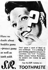 Advert for SR toothpaste in a 1943 magazine