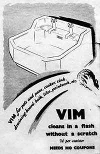 Advert for Vim scouring powder, 1943