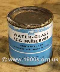 Tin of Water glass, also known as waterglass, for preserving eggs