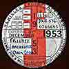 1953 British car-tax disc for a dark green Lanchester family car, thubnail