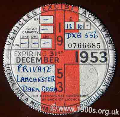 1953 British car-tax disc for a dark green Lanchester family car