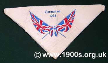 Souvenir paper table napkin of the coronation of Queen Elizabeth II