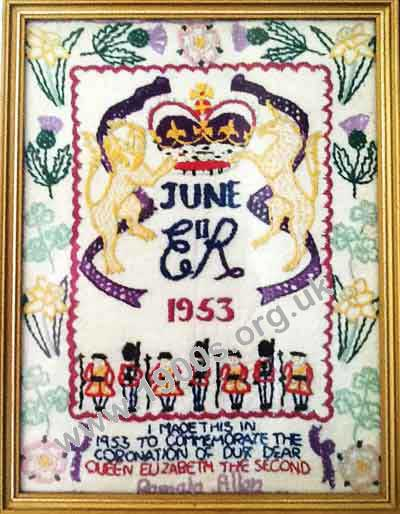 Embroidery celebrating the coronation of Queen Elizabeth I, June 1953