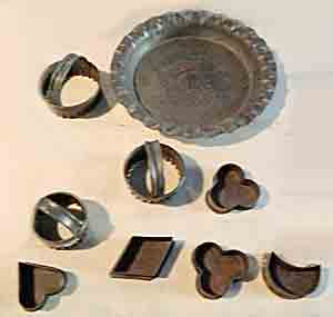 Old metal biscuit cutters and moulds for cakes and tarts