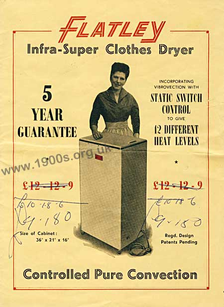 Front cover of a brochure for the Flatley airer/dryer, mid 20th century