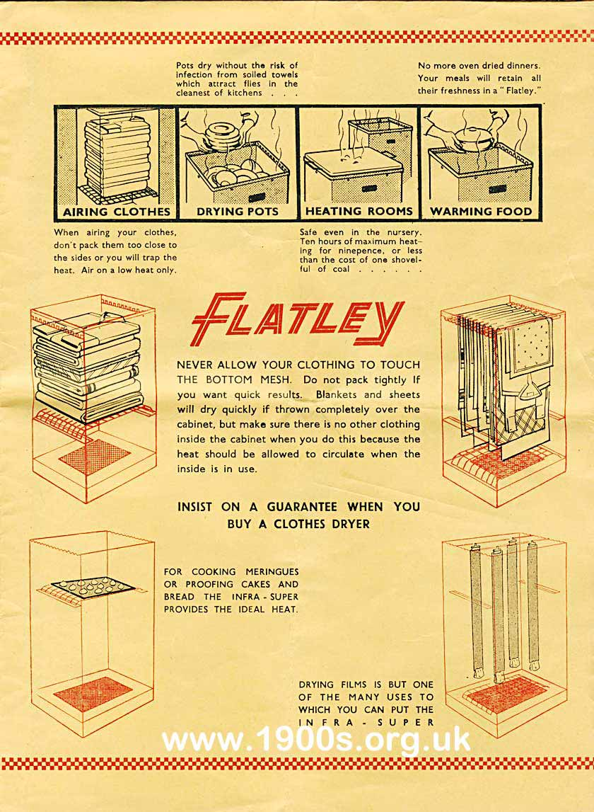 selling points of the Flatley dryer, mid 20th century