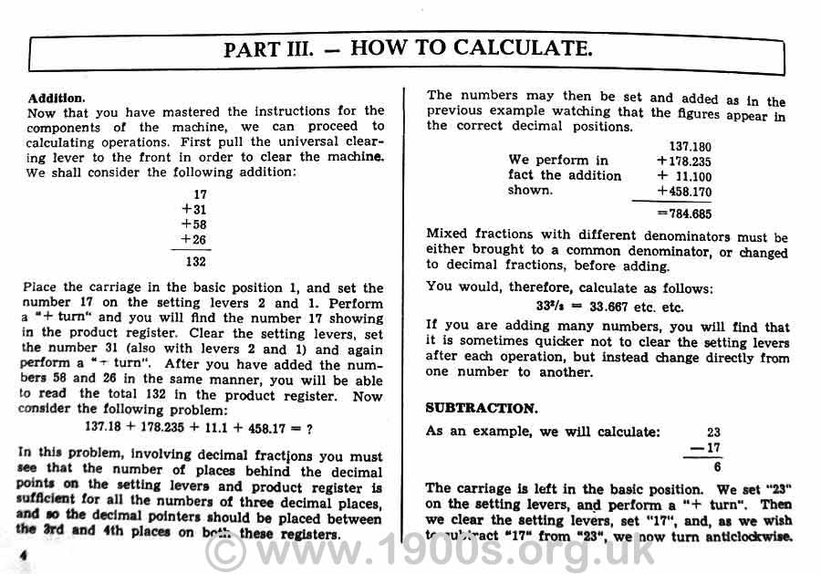 Instructions for addition on the 1950s Brunsviga 13RK mechanical calculating machine