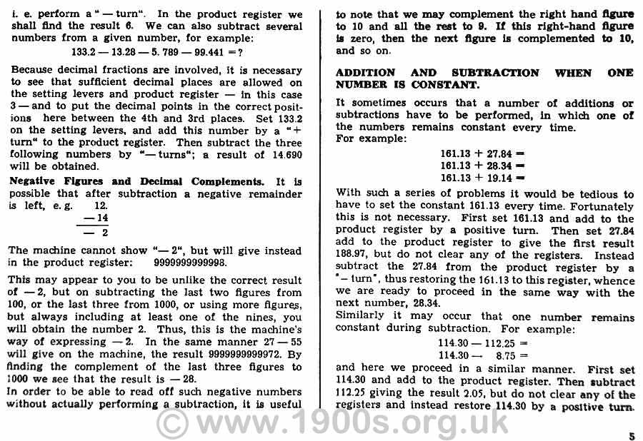 Page from the instruction book for the 1950s Brunsviga 13RK mechanical calculating machine