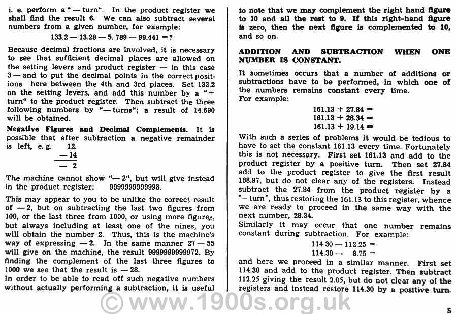Instructions for subtraction on the 1950s Brunsviga 13RK mechanical calculating machine
