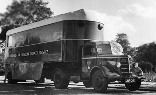 Mobile lubrary, mid 20th century Britain