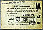 Back of 1954 UK train season ticket