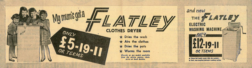 advert for Flatley dryer/airer and washing machine