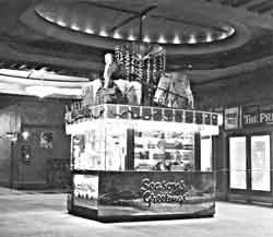 cinema foyer decorated for Christmas, mid 20th century