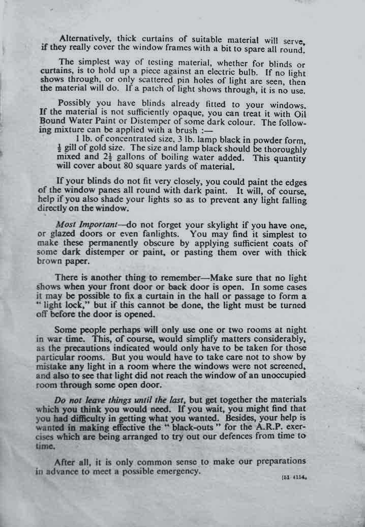 Last page of WW2 Civil Defence Leaflet no 2