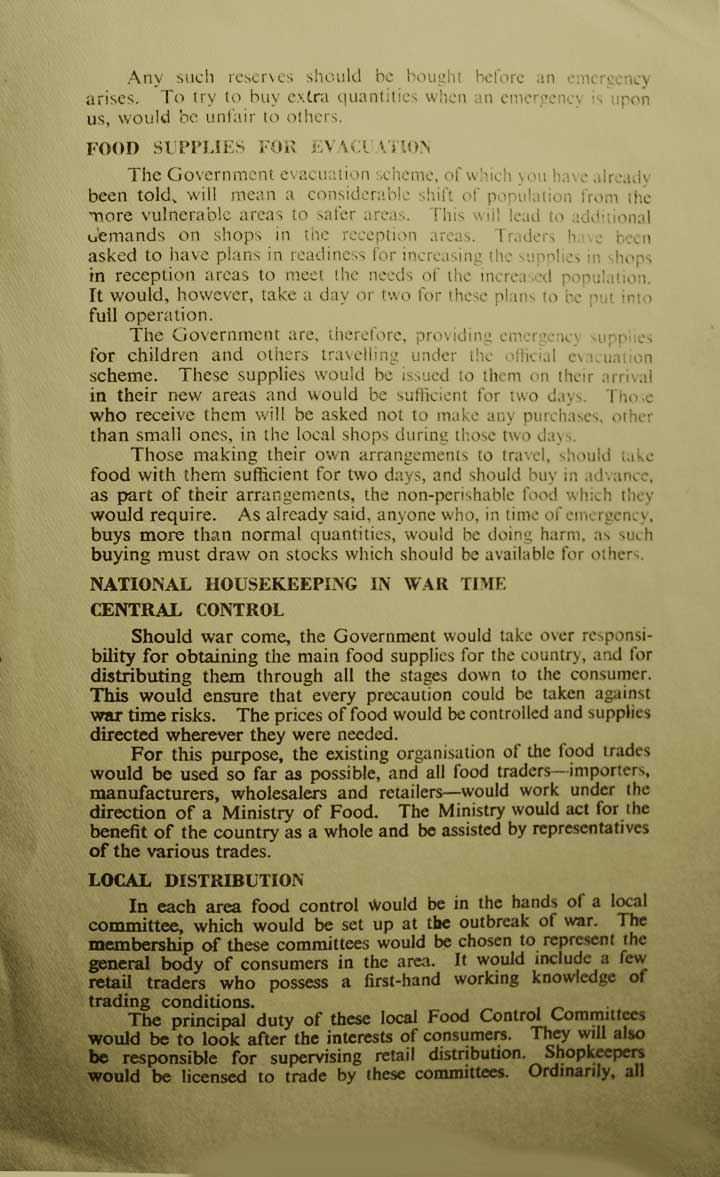 Third page of WW2 Civil Defence Leaflet no 4 on food in WW2