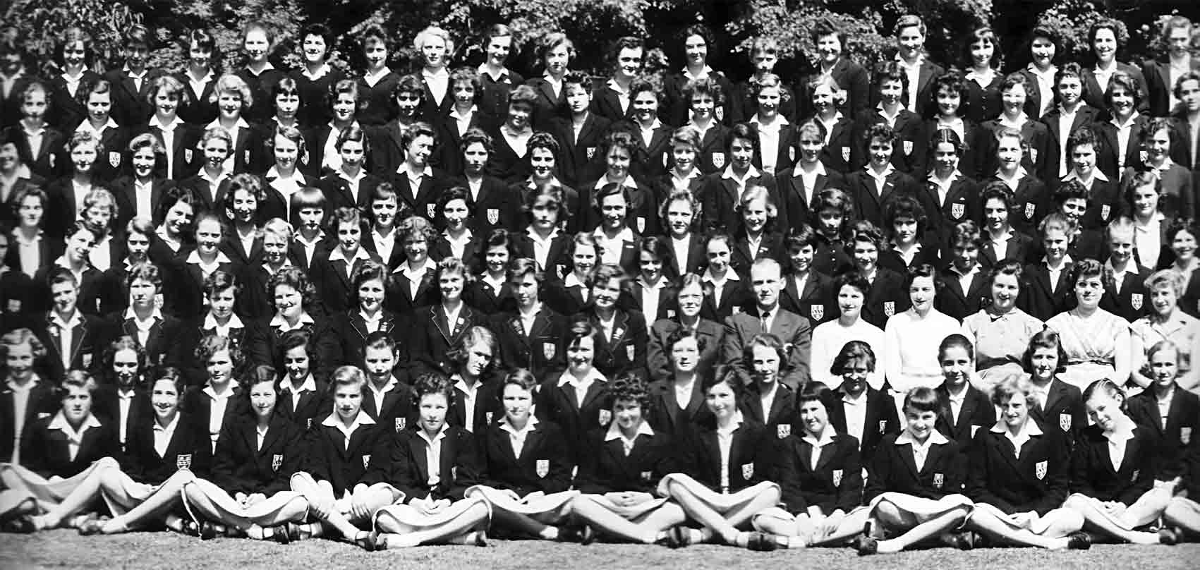 Second left section of the 1957 School photograph for Copthall County Grammar School